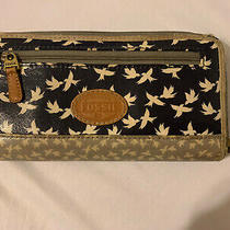 Fossil Wallet Navy / White Bird Photo