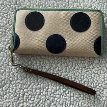 Fossil Wallet Old Style Poke a Dot Blue and Cream Color Photo