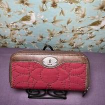 Fossil Wallet Red/brown Nylon Qulited Keyper Leather Trim Clutch Photo