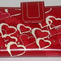 Fossil Wallet W/ Heart Designs  Red White  5.25