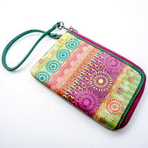 Fossil Wallet Wristlet Sl2540 Multicolor Pink Green Blue Yellow Zipper Leather Photo