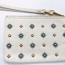 Fossil Wallet Wristlet  Zip Around Ivory W/ Studs & Leather Geometric Cutouts Photo