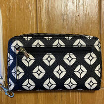 Fossil Wallet Wristlet Zip Around Women's Leather Clutch - Black and White Photo