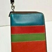 Fossil Wallet Zip Around Multicolored Wristlet Clutch Blue Green Yellow Red Brn Photo