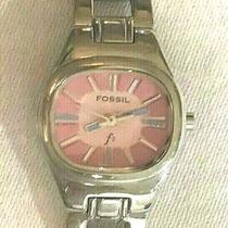 Fossil Watch F2 Pink Face Es-9764 Womens Silver Analog 15 Cm Band Diameter  Photo