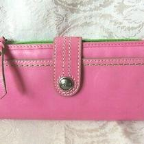 Fossil Watermelon Pink Leather Green Fabric Trim Snap & Zipper Clutch Wallet Photo