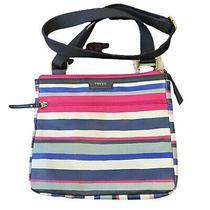 Fossil Waxed Canvas Crossbody Bag Purse Striped Pink Blue Classic Handbag Photo