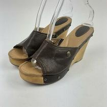 Fossil Wedge Open Toe Sandal Shoe Womens 7.5 Brown Casual Wood Heel Photo