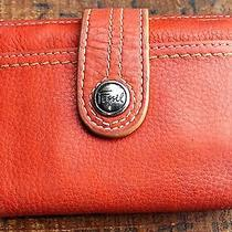 Fossil Whats Your Vintage Orange Leather Wallet Photo
