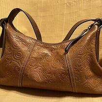 Fossil Whiskey Brown Tooled Embossed All Leather Hobo Shoulder Bag Photo