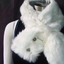 Fossil White Fur Pull Thru Scarf W/ Key Nwt 40 Photo