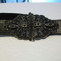 Fossil Woman's Black Leather Belt Medium With Back Elastic. Beautiful Clasp Photo