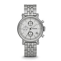 Fossil Woman's Boyfriend Chronograph Stainless Steel Watch Es2198 Photo