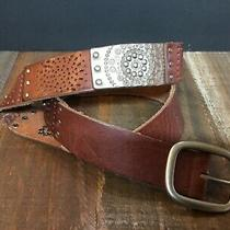 Fossil Womans Brown Silver Studded Tooled Leather Link Belt Boho Sz M  Photo