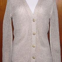 Fossil Woman Size Small Beige Open Knit Cardigan Sweater Photo