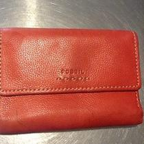 Fossil Woman Wallet Genuine Leather Red Photo