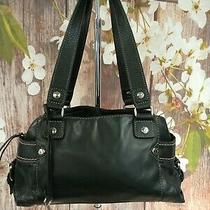 Fossil Women Black Leather Shoulder Tote Bag Double Strap Photo