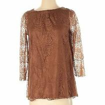 Fossil Women Brown 3/4 Sleeve Top S Photo