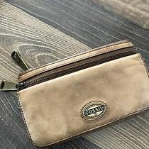 Fossil Women Brown Camel Tan Leather Clutch Wallet Photo