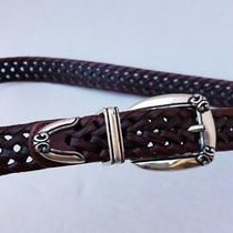 Fossil Women Brown Leather Braided Belt M Medium Adjustable Silver Buckle 062469 Photo