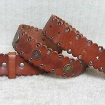 Fossil - Women's Belt - Brown Leather - Coin Grommets - Scallop Edge - Size S Photo