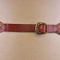 Fossil Women's Belt Studded Open Weave Brown Green Red M Photo