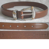 Fossil Women's Belts Leather Silver Gold Tan Brown Skinny Small S (28) Photo