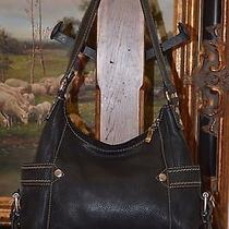 Fossil Women's Black Leather Hand Shoulder Bag Silver Hardware - Beautiful Photo