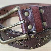 Fossil Women's Boho Sz Large Brown Leather/brass Studded Belt  Photo