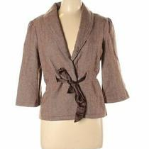 Fossil Women's Brown Bow Lapel Ribbon Tie Front Wool Blazer Jacket Size Large Photo