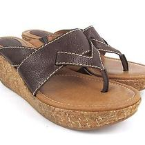Fossil Women's Brown Leather Slip on Cork Wedge Heels Thong Sandals Size 8.5 Photo