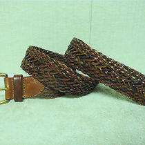 Fossil Women's  Brown Leather Woven Fashion Belt Size L Photo