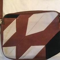 Fossil Women's Brown Multicolor Leather Zipper Crossbody Bag Purse Geometric  Photo