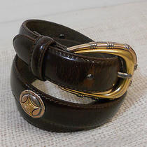 Fossil Women's Brown Stitched Leather Belt Gold Accents  Photo