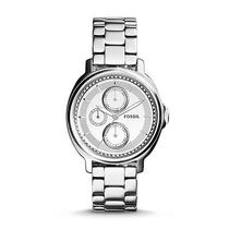 Fossil Women's Chelsey Multifunctional Stainless Steel Watch Es3718 With Stones Photo