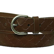 Fossil Women's Embossed Jean Brown Leather Belt Size Medium Photo
