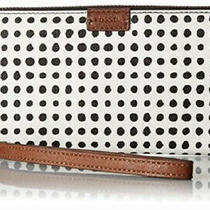 Fossil Women's Emma Rfid Large Zip Clutch White With Black Photo