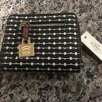 Fossil Women's Emma Rfid Mini Wallet Brand New Black Stripe Photo