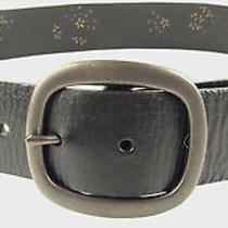 Fossil Women's Floral Studded Black Genuine Leather Belt Size M - Bt3857001 New Photo