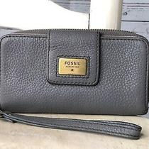Fossil Women's Gray Pebbled Leather Medium Zip Around Clutch Wallet Wristlet Photo