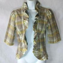Fossil Women's Green Tan Plaid Jacket Sz M Photo