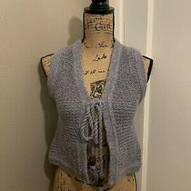 Fossil Women's Grey Crop Tie Front Knit Vest Top Size Xs X- Small Photo