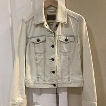 Fossil Womens Ivory Denim Jacket Lightly Distressed Size Small Photo