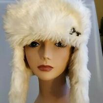 Fossil Women's Ivory Faux Fur Buffalo Aviator Trapper Ski Hat Winter Cap Photo