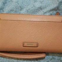 Fossil Women's Julia Zip Around Clutch Genuine Leather Orange Wallet Size 8