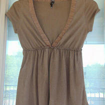 Fossil Women's Junior Size Xs Brown Short Sleeve v-Neck Top Blouse Photo