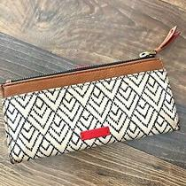Fossil Womens Keely Snap Tab Clutch Black Soft White & Red Envelope Wallet Photo