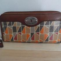 Fossil Women's Key-Per Retro Zip Around Clutch Wallet Coated Canvas Great Used Photo