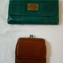 Fossil Women's Lady's Green Wallet and Brown Change Purse Photo