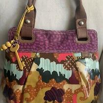 Fossil Womens Large Printed Coated Canvas Shoulder Bag Leather Detail Photo